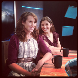 Alicia (right) and her producer, Megan (left)